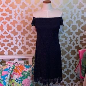 Lilly Pulitzer Navy Knit Lace OTS Jade Dress XS